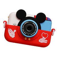 28 Мп Детский цифровой фотоаппарат Микки Маус Красный 2 камеры