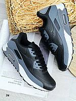 Кроссовки мужские демисезонные найк реплика черные на шнурках 41-46