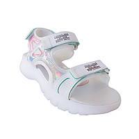 Белые босоножки на модной высокой подошве от Lilin-Shoes девочкам, р. 32, 33, 34
