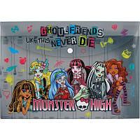 Папка на кнопке А4 Монстер хай (Monster High) Серая