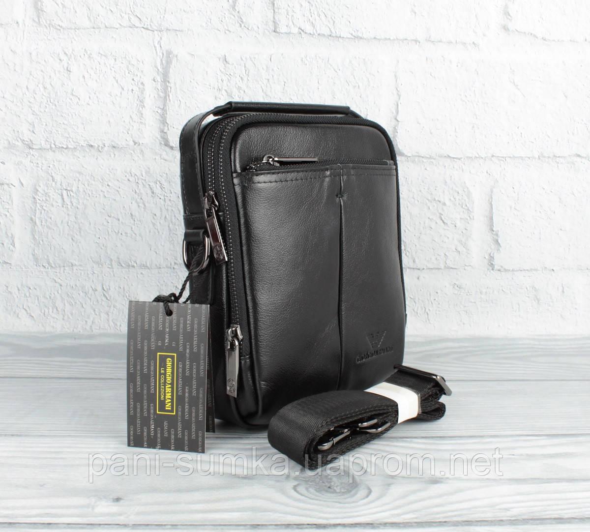 Малая сумка мужская, борсетка кожаная Giorgio Armani 18-1124-5 черная (копия)