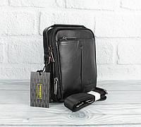 Малая сумка мужская, борсетка кожаная Giorgio Armani 18-1124-5 черная (копия), фото 1