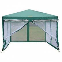 Шатер туристический, палатка, садовый с москитной сеткой GreenCamp, 3х3 метра, цвет зеленый +Подарок, фото 2