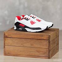 Демисезонные мужские кроссовки из эко кожи практичные удобные повседневные кросы белого цвета, фото 1