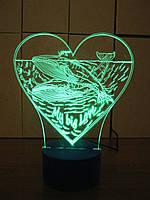 3d-светильник 2 кита в сердце, 3д-ночник, несколько подсветок (батарейка+220В)