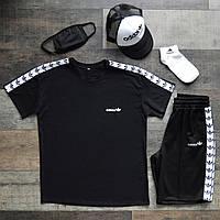 Шорты + Футболка Adidas black мужские | спортивный костюм летний ЛЮКС качества