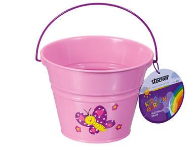 Детское ведро металлическое розовое Штокер Kid's Garden (Stocker 4913)