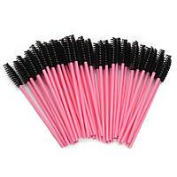 Щеточки для расчесывания ресниц черные с розовой ручкой, 50 шт. в упаковке