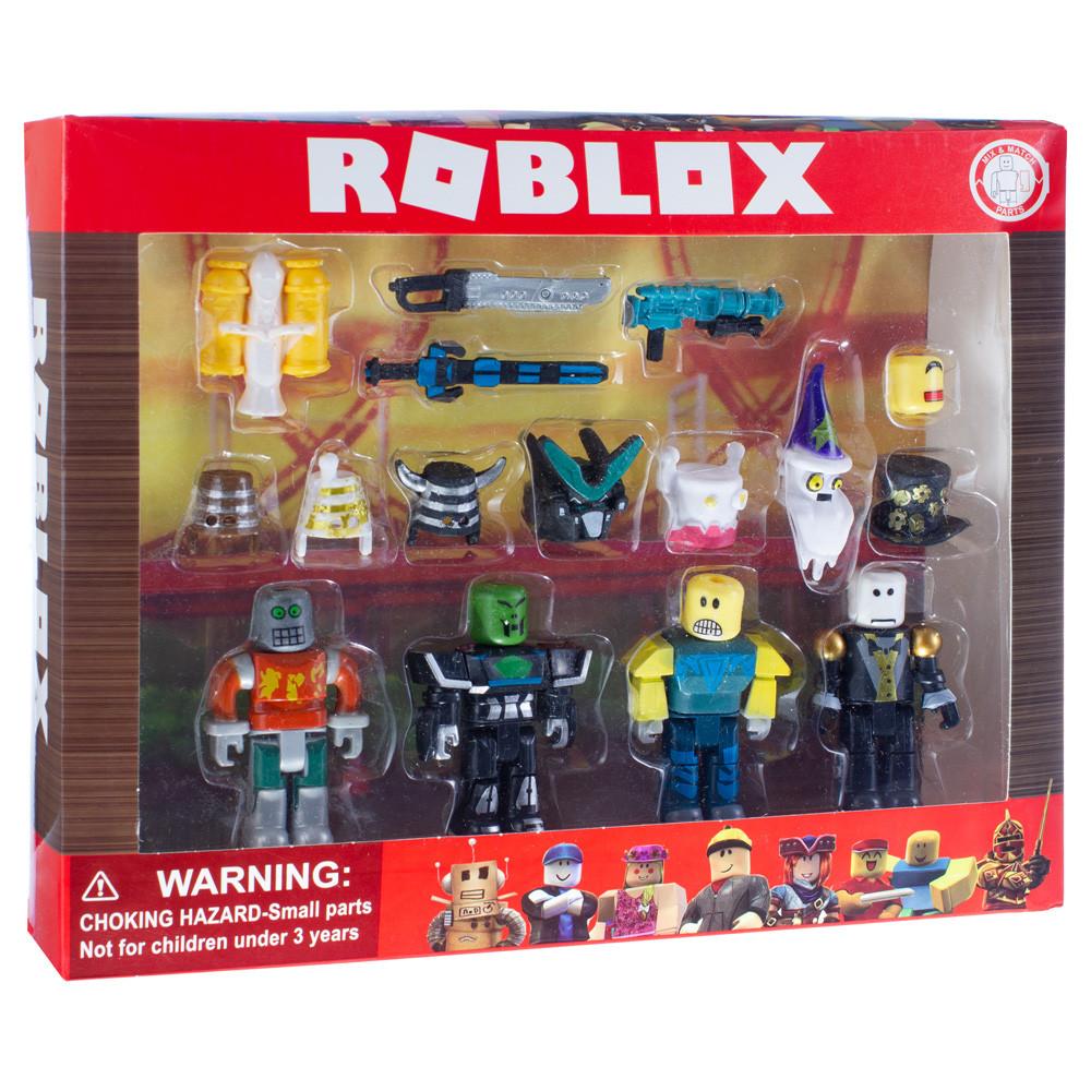Игровой набор Roblox 4 фигурки рыцарей с аксессуарами (мечи, пистолет, шлем)