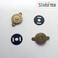 Кнопка магнитная 14мм (200шт./уп.) плоская Антик
