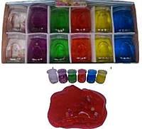 """Іграшка антистрес Лизун 2460-12 """"Фрукти"""", слайм желе 180г в банку 6цветов уп12"""