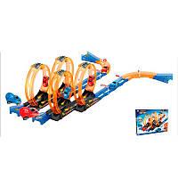 Трек для детей модель 6688-262, 2-ве машинки размер 6,5 см- инерционная, в коробке 38 деталей сборки.