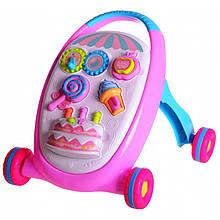 Детская каталка ходунки Baby Walker 3 в 1 + игрушки. Розовый (от 9 мес)