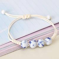 """Нарядный женский браслет,  керамический, летний """"Sea stone"""" (бело-синий), фото 1"""