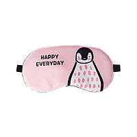 "Удобная маска для сна ""Happy Everyday розовая"" Повязка на глаза детская Наглазная маска женская. Маска для сну"