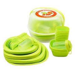 Набор пластиковой посуды для пикника 48 предметов, зеленый