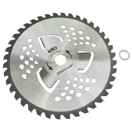 Нож для триммера Brush Cutter Blade HD-0102 40Т (255 мм, 3 лопасти, победитовые напайки), фото 2