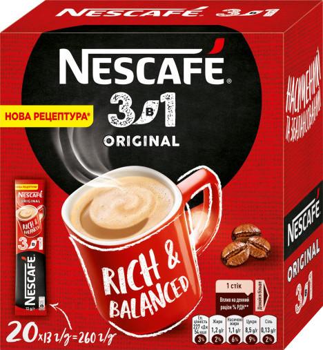 Кофе 3 в 1 Nescafe Оригинал 20 стиков в картонной упаковке
