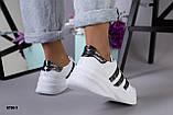 Черные и белые! Стильные женские кроссовки с перфорацией, фото 4