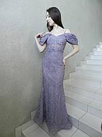 Вечернее длинное нарядное платье рыбка сиреневое лавандовое с цветами на свадьбу на выпускной открытые плечи