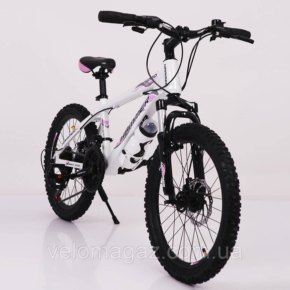 """Стильний спортивний алюмінієвий велосипед """"S200 Колеса 20*2,25, Рама 12"""", біло-рожевий"""