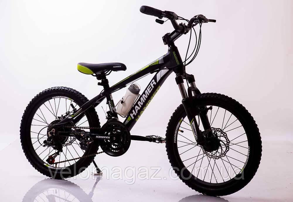 """Стильний спортивний алюмінієвий велосипед """"S200 Колеса 20*2,25, Рама 12"""", чорно-зелений"""