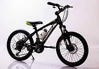 """Стильний спортивний алюмінієвий велосипед """"S200 Колеса 20*2,25, Рама 12"""", чорно-зелений, фото 1"""