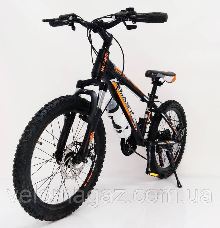 """Стильний спортивний алюмінієвий велосипед S300 BLAST-NEW 20"""", рама 11"""", чорно-помаранчевий"""