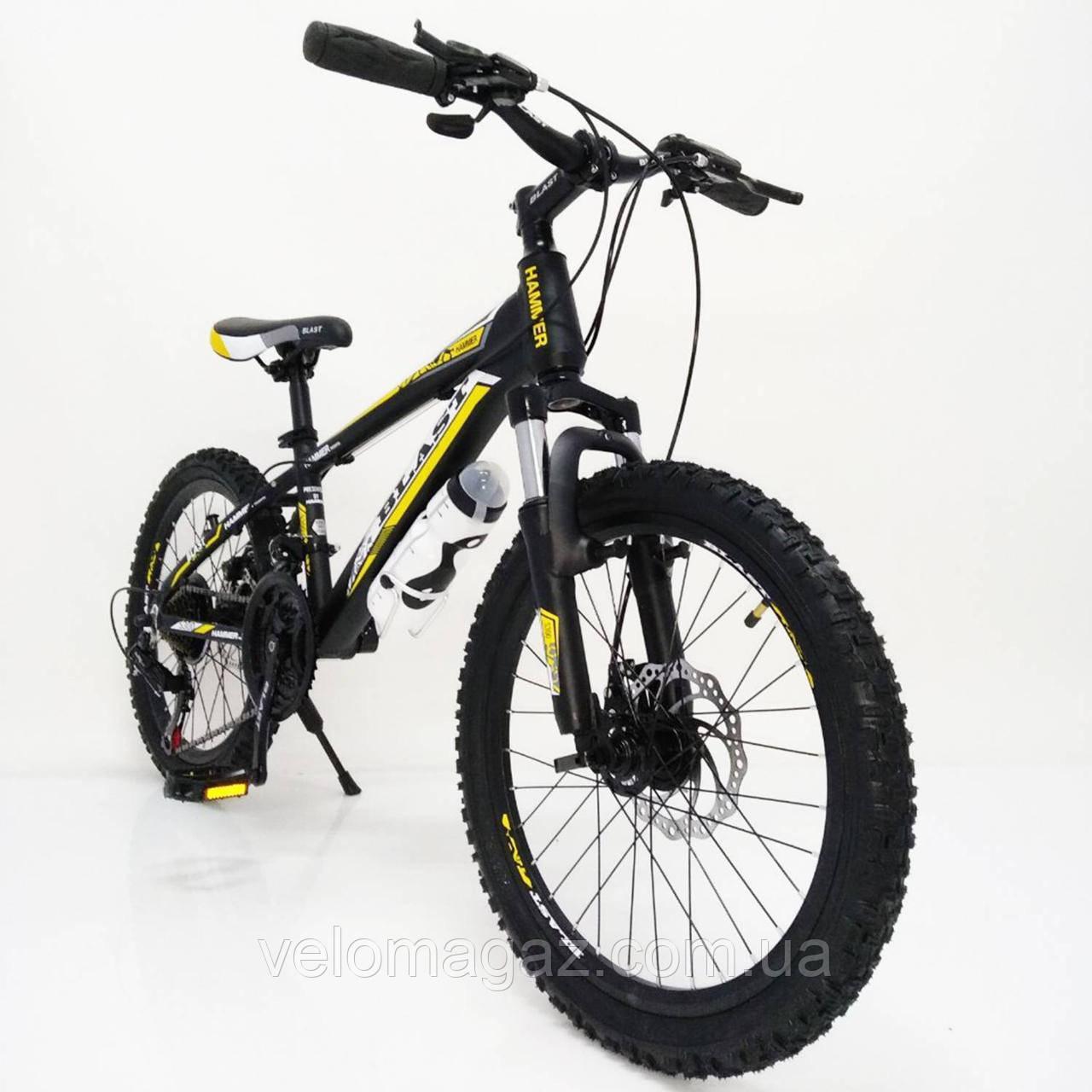 """Стильный спортивный алюминиевый велосипед S300 BLAST-NEW 20"""", рама 11"""", черно-желтый"""