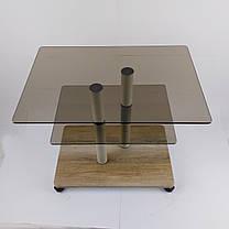Стол журнальный стеклянный прямоугольный Commus Bravo Light P6 bronza-sequoia-2bgs50, фото 3