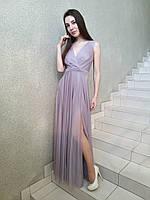 Вечернее длинное нарядное платье на запах серо-сиреневое на свадьбу на выпускной с разрезом коктейльное