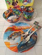 Дитячий набір скляного посуду для годування Хот вілс 5 предметів