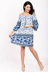 Женское летнее платье до колена из вискозы с открытыми плечами K2000S-5 голубое