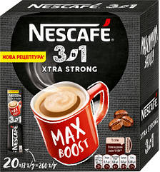 Nescafe 3 в 1 Екстра Стронг 20 стиків в картонній упаковці