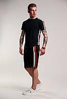Мужской спортивный комплект с лампасами футболка и шорты. Цвет: черный