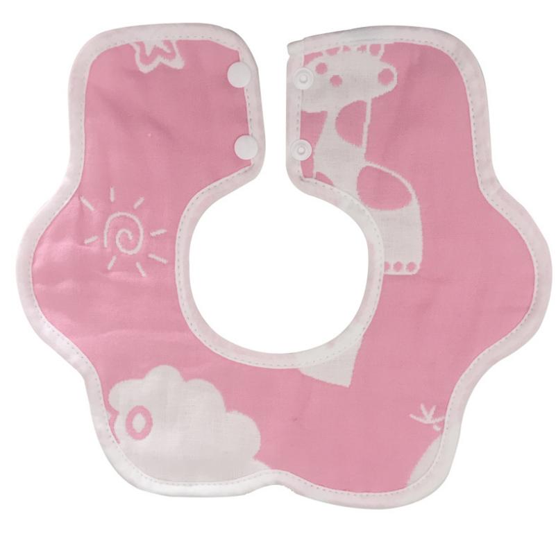 Муслиновый слюнявчик - воротничок Розовый Жираф