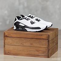 Весенние мужские кроссовки в стиле Nike Air max 90 из эко кожи повседневные найки в черно-белом цвете