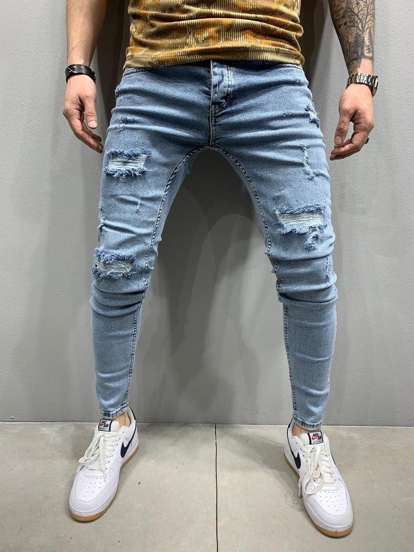 Молодіжні джинси,завужені,з потертостями,Синій