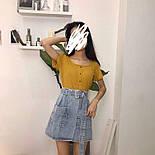 Женская джинсовая юбка-трапеция с поясом (белая и синяя), фото 3