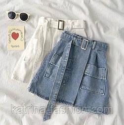 Женская джинсовая юбка-трапеция с поясом (белая и синяя)