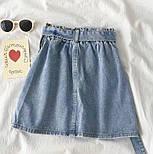 Женская джинсовая юбка-трапеция с поясом (белая и синяя), фото 2