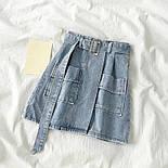 Женская джинсовая юбка-трапеция с поясом (белая и синяя), фото 6