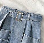 Женская джинсовая юбка-трапеция с поясом (белая и синяя), фото 5