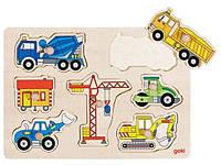 Строительный транспорт, пазл-вкладыш, Goki