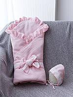 """Муслиновый конверт-плед с шапочкой """"Shery"""", розовый"""