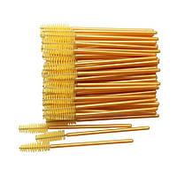 Щеточки для расчесывания ресниц желтые с золотистой ручкой, 50 шт. в упаковке