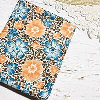 Ткань хлопок  45х55см Оранжевые и синие цветки