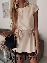 Короткое летнее платье с кружевом