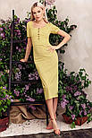 Платье-футляр длины миди в горошек желтое, фото 2