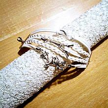 Кожаный браслет «Birds & Love» 20 см белый
